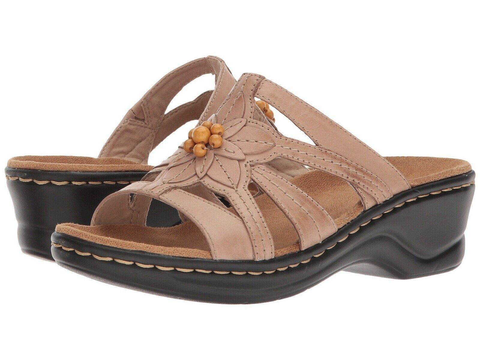 Clarks Lexi Myrtle Femme Sable Cuir 34220 Slide Confort Sandales