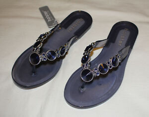 Details about Holster HST206CMB Womens Embellish Clear Midnight Blue Jelly Sandals Size 8 39