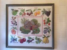 """Large Framed & Glazed Fresh Fruits Needlework 'Sampler' - 19.5"""" X 18"""""""