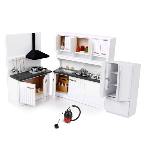 3 Sets 1/12 Dollhouse Miniature Wood Kitchen Cabinet Fridge Vacuum Cleaner
