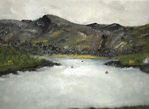 Oil-Painting-On-Board-Coastal-Estuary-Welsh-Landscape-Framed-Mounted-Glazed