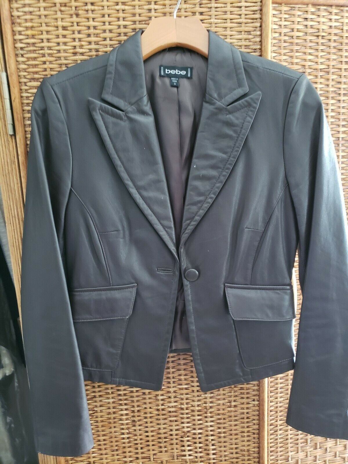 Bebe Brown Leather Jacket Size S