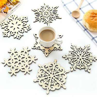 Snowflower Shaped Wooden Coasters Drinks Tea Cup Anti-hot Mat Insulation Pad