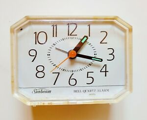 Vintage Sunbeam Bell Quartz Alarm Clock Battery Operated Untested Free Shipping