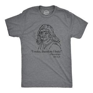 Mens I Wake Therefore I Bake Tshirt Funny 420 High Marijuana Graphic Tee (Dark