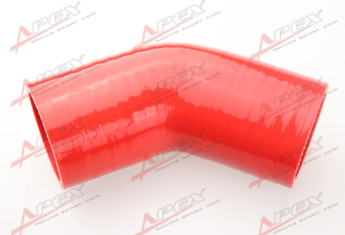 """inch 45 Degree Silicone Hose Coupler Pipe Turbo Red 25.4mm 4 Ply 1/"""""""