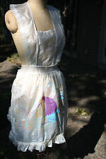 Vintage Plastic Vinyl Opaque Ruffle Pinafore APRON 40S 50S Kitchen ROOSTER Cute