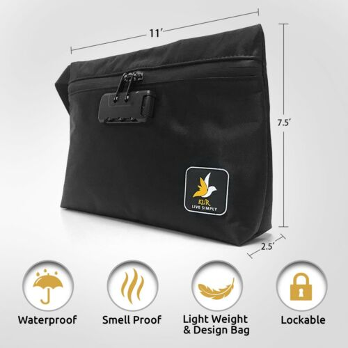 Black//Gray Smell Proof Bag Pouch Case+4 Mylar Bags|Stash scent proof Container