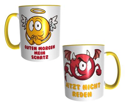 Design Kaffeetasse Mit Bunten Aufdruck Engel Teufel