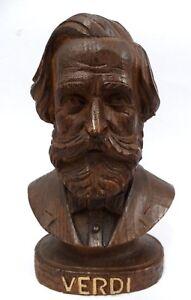 Sculpture-en-Bois-Giuseppe-Verdi-Artisanat-Vintage-Antique-Emilia-Parma