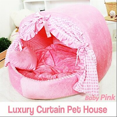 Luxury Pet Bed- Baby Pink Curtain House Large Plush Soft Cave Bed for Dog/Cat