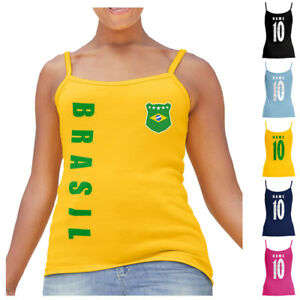 Brasilien Damen Trikot Fanshirt Top Shirt WM 2018 Name Nummer Fußball-Trikots