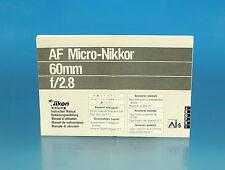 Nikon AF Micro-Nikkor 60mm f/2.8 Manuale di Istruzioni Instructions - (25912)
