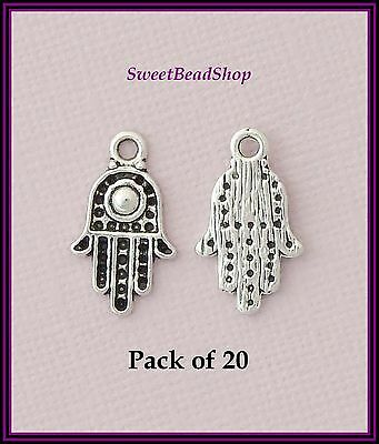 20 Antique Silver Colour 20 x 12mm Hand of Fatima Khamsa Hamsa Protection Charms