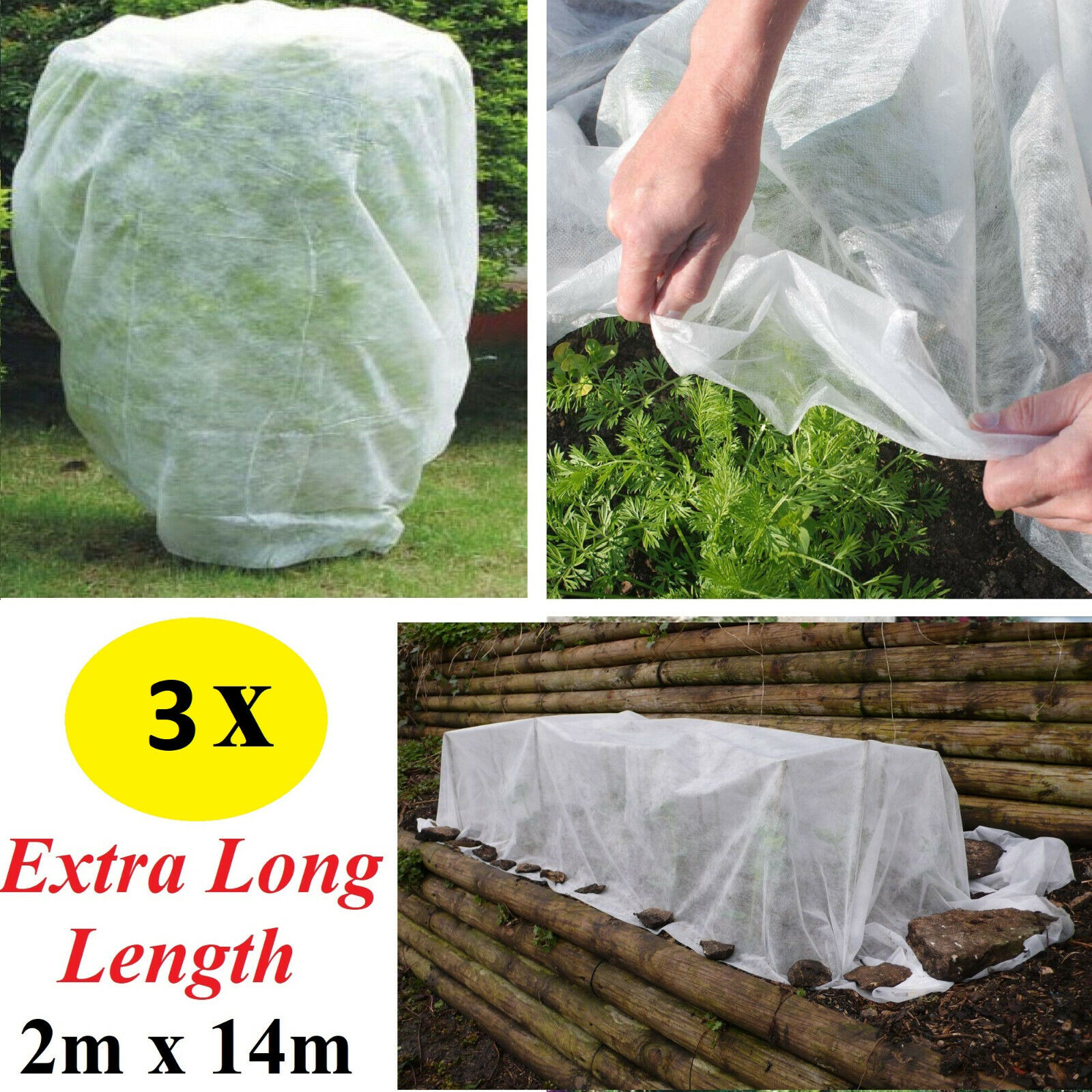 3 x Garden Frost Protector Fabric Cloth Fruit Plant Flower Winter Protection