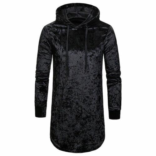 Mens Crushed Velvet Hooded Sweatshirt Longline Side Zip Hoodie Long T-shirt Tops