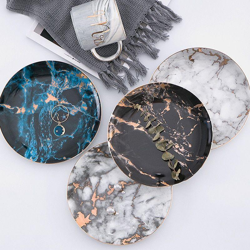 European Style Marble Plates Ceramic Dinner Set gold Inlay Porcelain Tableware