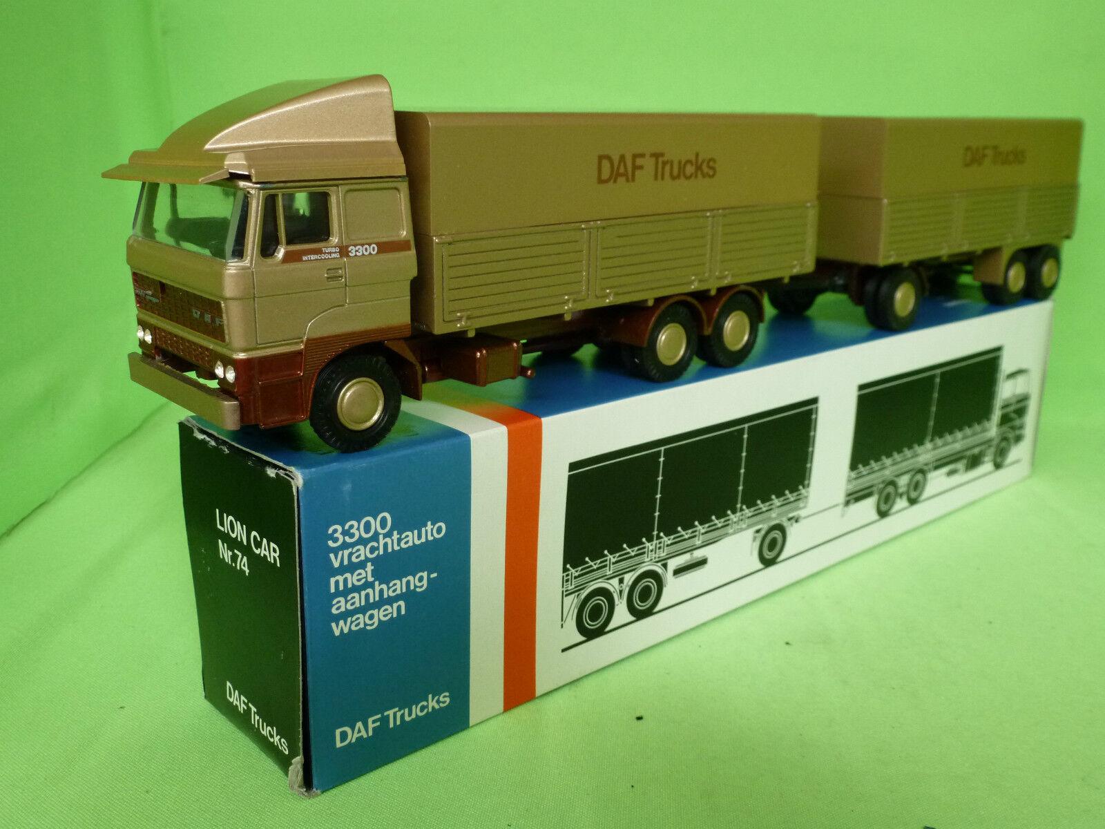 LION CAR 74 65 64 DAF 3300 TRUCK +  TRAILER  DAF TRUCKS  RARE SELTEN NMIB