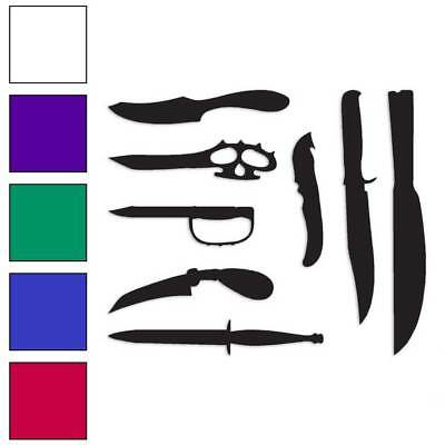 Size #3369 Set of 6 Daggers Knives Decal Sticker Choose Color