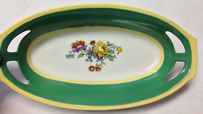 "P A Arzberg Bavaria Germany 18 Cut Handle Green Floral Celery Tray Bowl Dish 8"" Less Expensive Ceramics & Porcelain"