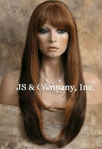 HUMAN-HAIR-Blend-wig-Heat-safe-Long-Straight-Auburn-Blonde-Brown-WBTO-27-4-30
