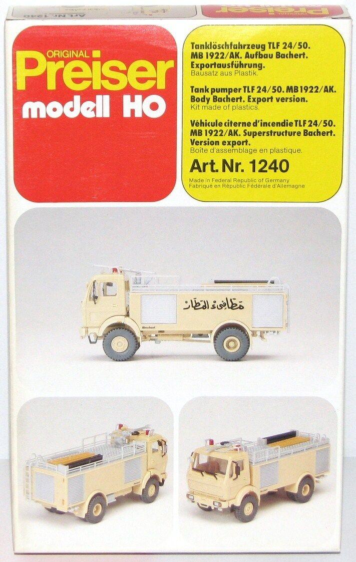 Preiser H0 1240 Vehículo de Bomberos Cisterna 24 50 MB 1922   Ak Bachert