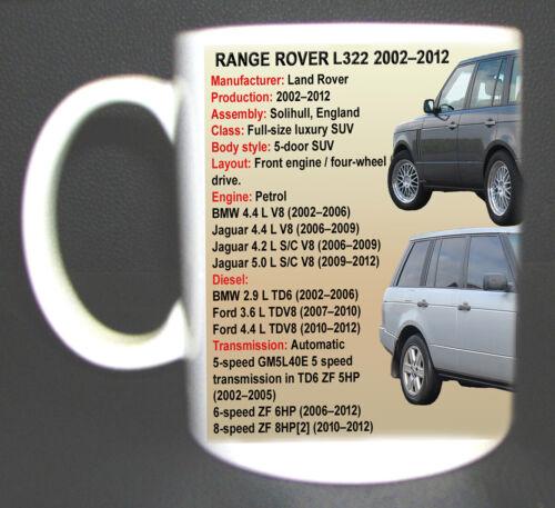 RANGE ROVER L322 CLASSIC CAR MUG LIMITED EDITION DESIGN 2002-2012 PERSONALISE