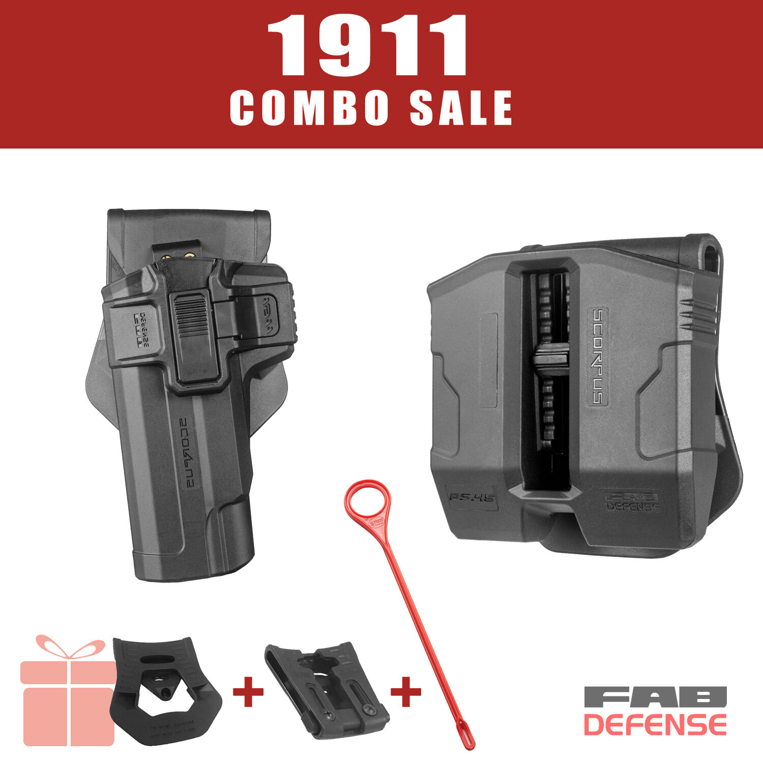 Fab Defense 1911 Combo Deal: Holster & Double Magazine Pouch - 1911 PS1911 Rod