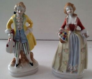 Occupied Japan Figurines 1950 S Vintage Ceramic Edwardian 6 3 4 Tall Ebay