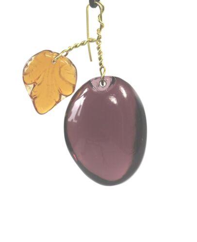 lustre Glas Pflaume amethyst mit Glasblatt topaz Lüster Kronleuchter   prune p