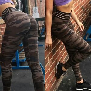 3660c84994085 Image is loading Women-Yoga-Fitness-Leggings-Camouflage-Stretch-Sports-High-