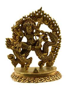 Soprammobile Tibetano Vajrapani Dragon Protettore Del Budda 98mm Rame Nepal