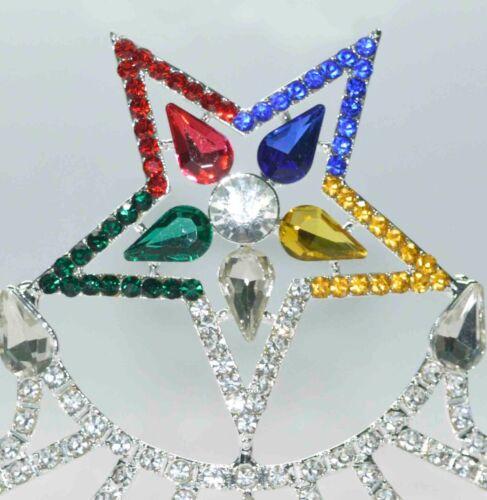 Freemason Masonic OES Worthy Matron SILVER TONE Rhinestones O.E.S CROWN