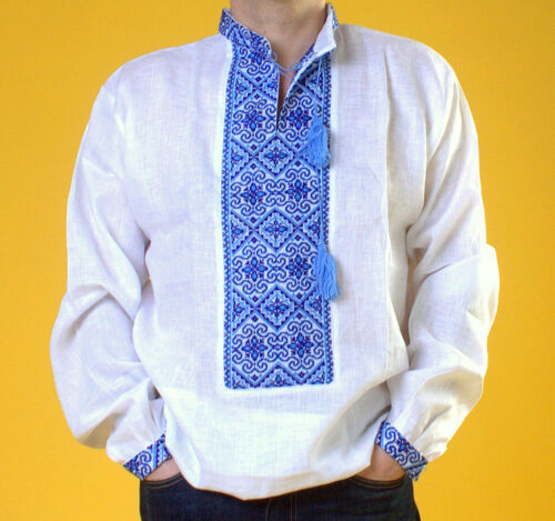 S Camisa Blanco Bordado Vyshyvanka Azul para Lino Regalo 4xl Hombre Ucrania él zAqWxBn4vw