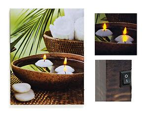 led wandbild 30x40cm spa wellness kerzen kerzenlicht. Black Bedroom Furniture Sets. Home Design Ideas