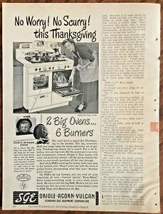 Sge Oven 1948 Original Vintage Advert 1940s Home Decor Art Retro Illus Appliance Ebay