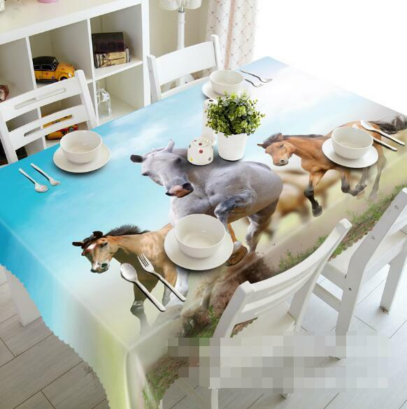 3D Horses Desert Tablecloth Table Cover Cloth Birthday Party Event AJ WALLPAPER