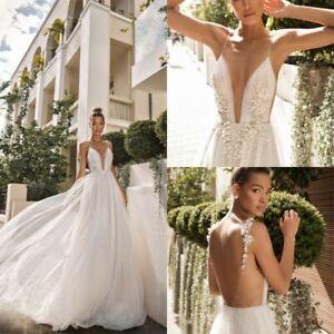 7c4d9b000126 Image is loading Sexy-Beach-Wedding-Dresses-Backless-Pearl-Spaghetti-Deep-