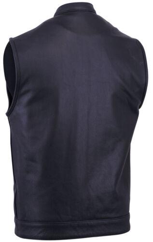 Men/'s Premium Leather Vest w// 2 Gun Pockets Snap /& Zipper Front Free Shiping