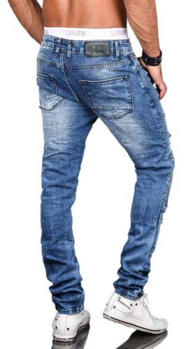 Stylische Herren Röhrenjeans Slim Fit Jeans Hose Biker Washed Stretch NEU