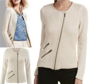 NWT-CAbi-203-Roadster-Moto-Sweater-Cream-Zip-Size-M