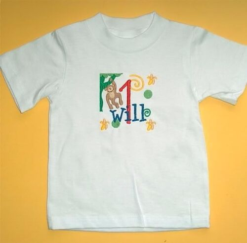 Personalized JUNGLE MONKEY Bananas Boy Girl Name /& Initial or Birthday T Shirt