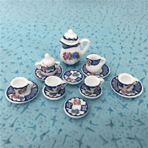 1:12 Dollhouse mini furniture accessories colorful ceramic teapot 15pcs//*ss