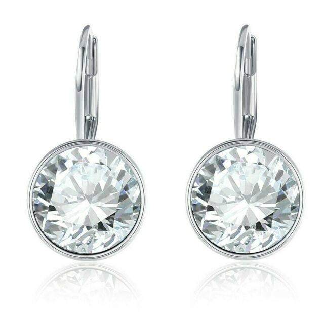 Round Swarovski Crystals Leverback Earring in 18K White Gold ITALY with Gift Box