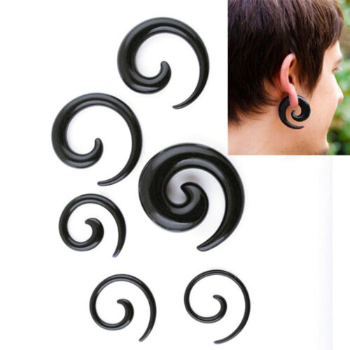 1 Pair Spiral Swirl Acrylic Ear Plugs Stretchers Expanders Tapers Tunnels ZX
