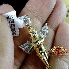 14K Y GOLD GP PLATTED REAL GENUINE DIAMOND 0.13CT MINI ANGEL WINGS CHARM PENDANT