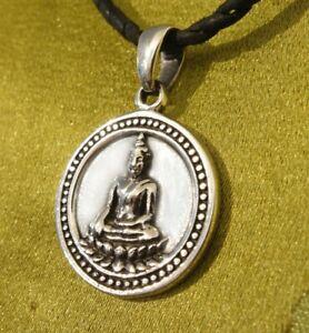 Massiver 925er SILBER BUDDHA Münze Anhänger/AMULETT aus Nepal