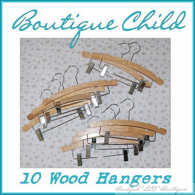 BonEful Boutique NEW RTS Girl Boy Baby Nursery Outfit Clothes WOOD Hanger LOT 10