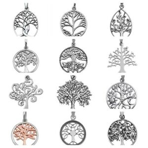 925-Sterling-Silver-TREE-OF-LIFE-amp-TRINITY-TREE-PENDANT-WITH-SNAKE-08-18-034-CHAIN