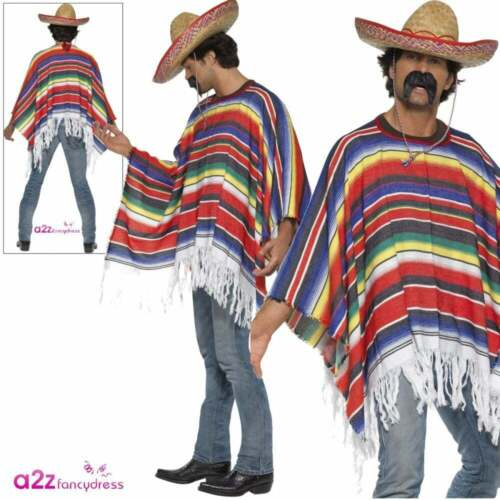 Adults Mexican Poncho Western Costume Bandit Stag Party Mens Fancy Dress Outfit